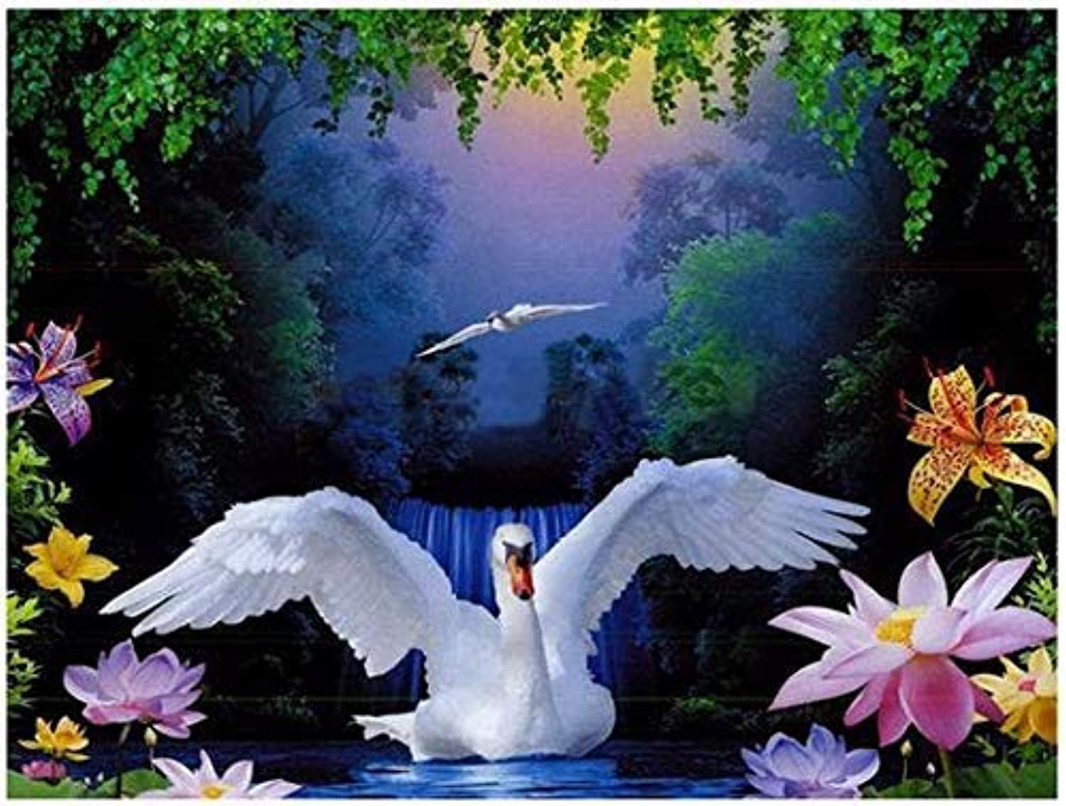 Canvas Wall Décor Diy Full Drill 5D Diy Diamond Painting White Swan  Embroidery Diamond cross Stitch Rhinestone Mosaic Painting Gift Full Drill Arts Craft Wall Sticker , Ibuprofen , 5575CM(21.6529