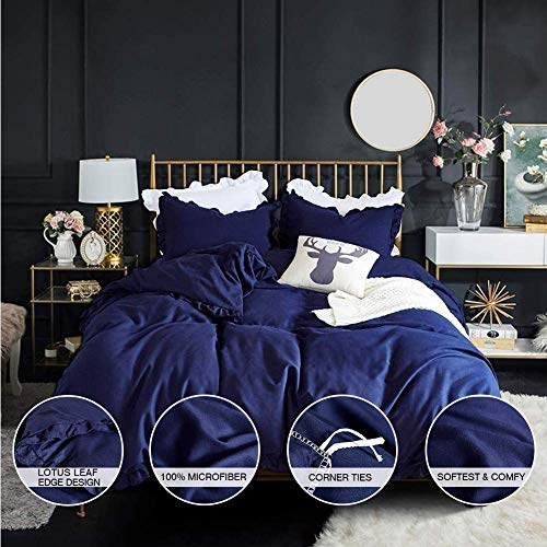 AUTOOK Queen Duvet Cover Set Washed Cotton White Ruffled Duvet Quilt Cover with Zipper Bedding Set Queen Size-Ruffle, Navy