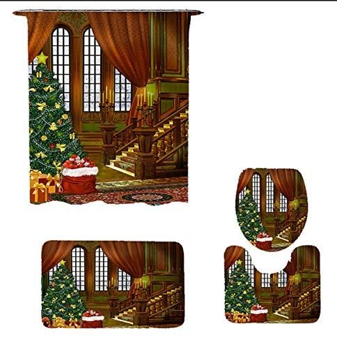Dekoresyon 4 Pcs Christmas Shower Curtain Sets with Non-Slip Rugs, Toilet Lid Cover and Bath Mat, Christmas Tree Shower Curtain with 12 Hooks, Retro Waterproof Fabric Shower Curtain for Bathroom