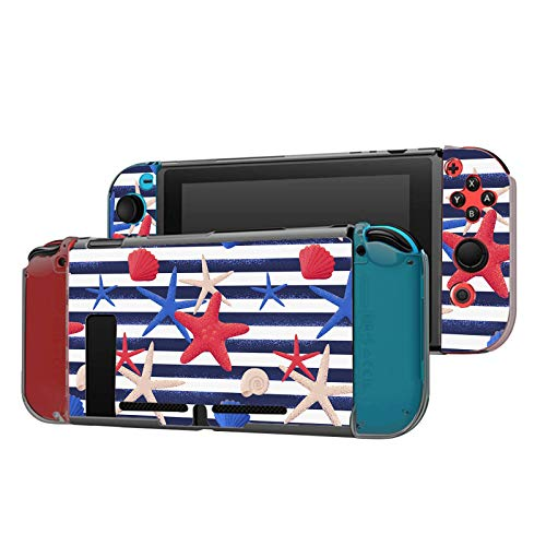 Dockable Case Compatible with Nintendo Switch Console and Joy-Con Controller, Patterned ( Grunge striped vest with seashells and starfishes pattern ) Protective Case Cover with Tempered Glass Screen