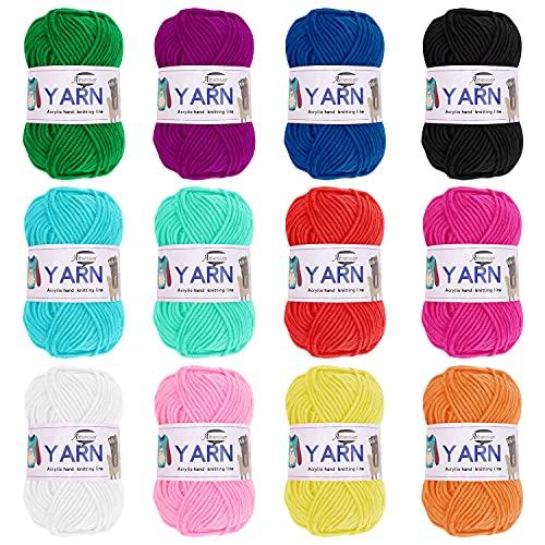 Wolle Häkelgarn 600g(50Gr*12 Farbe) Wolle Zum Stricken Acryl Wolle zum Häkeln Set Handstrickgarn Baumwollgarn Dicke Wolle für Häkeln