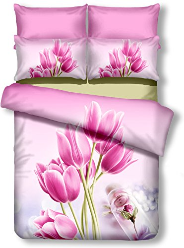 decoking Premium 01158Copripiumino matrimoniale 200x 220cm con 2federe 80X 80amaranto 3d in microfibra completo letto lenzuola fiori motivo floreale rosa pink Sandy