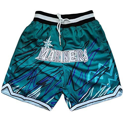 Herren Mesh Basketball Shorts Mariners Lightning Edition mit Tasche Schnelltrocknende leichte Gym bestickte Sportshorts A-S