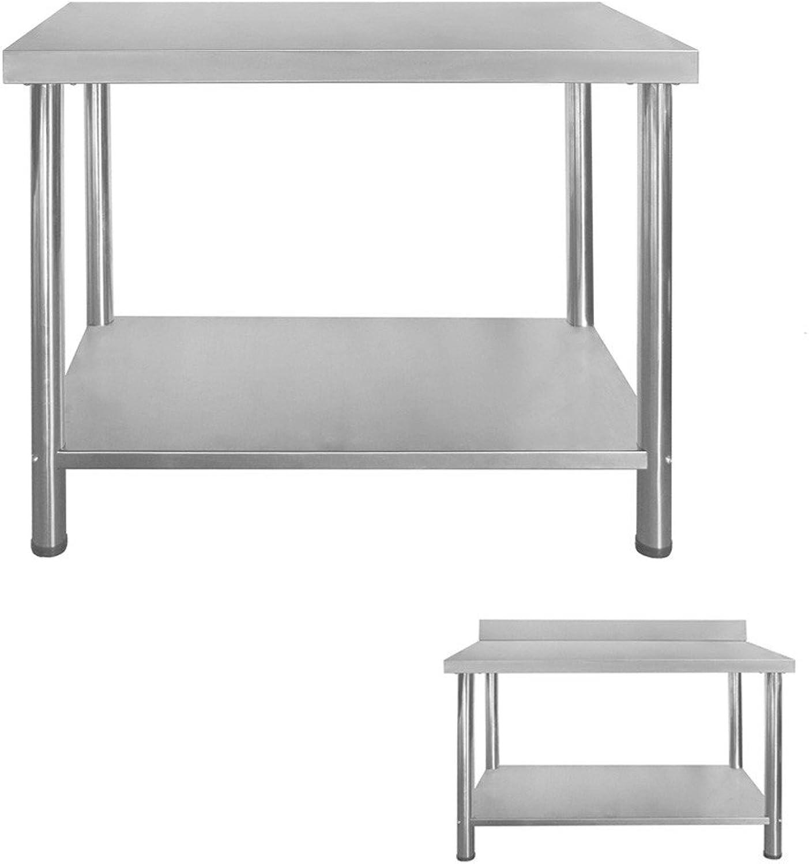 Gastro Edelstahltisch Edelstahl Arbeitstisch Küchentisch Hhenverstellbar mit ohne Aufkantung Grenwahl V2Aox, Gre 100 x 60 cm, Aufkantung ohne Aufkantung