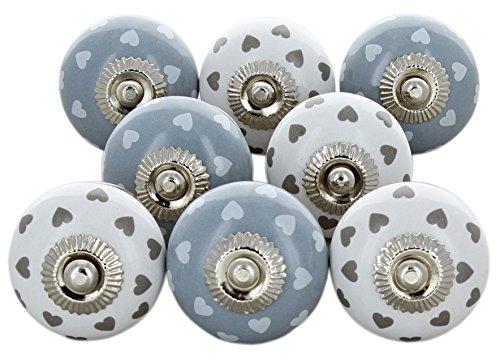 G Decor - Set di 8 pomelli in ceramica con cuori, stile vintage shabby chic, per credenze, cassetti