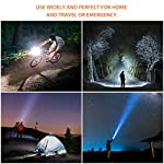 outlite A100 Portable 2000 Lumens Handheld LED Flashlight with Adjustable Focus and 5 Light Modes, Outdoor Water… 15 Ultra Bright LED Lamp & Super Long Endurance - Powerful LED generates a brilliant large area floodlight or a perfectly focused spotlight, the led flashlight can easily light up an entire 100 square meters room or focus in on objects up to 1000 feet away, Last for more than 5 hours with 3 regular AAA batteries or a single rechargeable 18650 battery. (Only AAA battery included) Compact & Ergonomic Design – Water resistant, Skid-Proof and Anti-fall design. Built for rough handling.Outlite flash light can be waterproof from splashing water from any angle. 2 spares O rings for you replace the flashlight to make it waterproof. Made of durable aluminum alloy crust, can survive a 10-foot drop. Head cooling groove design make you hands feel comfortable for long time use. Tail copper battery contact design effectively prevents poor battery contact. Adjustable Focus & Five Modes - Settings with 5 modes: High, Medium, Low, Strobe and SOS emergency modes. Wide-to-narrow beam zoom makes it ideal for use around the house, dog walking, or camping. Best flashlights for running.
