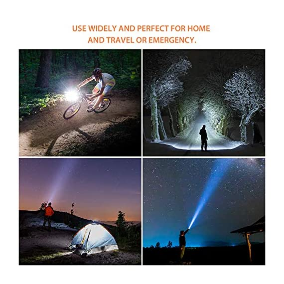 outlite A100 Portable 2000 Lumens Handheld LED Flashlight with Adjustable Focus and 5 Light Modes, Outdoor Water… 6 Ultra Bright LED Lamp & Super Long Endurance - Powerful LED generates a brilliant large area floodlight or a perfectly focused spotlight, the led flashlight can easily light up an entire 100 square meters room or focus in on objects up to 1000 feet away, Last for more than 5 hours with 3 regular AAA batteries or a single rechargeable 18650 battery. (Only AAA battery included) Compact & Ergonomic Design – Water resistant, Skid-Proof and Anti-fall design. Built for rough handling.Outlite flash light can be waterproof from splashing water from any angle. 2 spares O rings for you replace the flashlight to make it waterproof. Made of durable aluminum alloy crust, can survive a 10-foot drop. Head cooling groove design make you hands feel comfortable for long time use. Tail copper battery contact design effectively prevents poor battery contact. Adjustable Focus & Five Modes - Settings with 5 modes: High, Medium, Low, Strobe and SOS emergency modes. Wide-to-narrow beam zoom makes it ideal for use around the house, dog walking, or camping. Best flashlights for running.