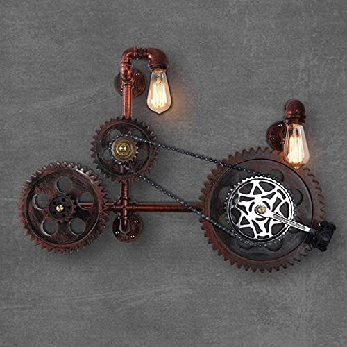 Vintage Industrial Wall Lamp Water Pipe Gearbox Wall lamp Creative Bike Decoration 2 Flame for Indoor Loft Bedroom Kitchen Corridor Hotel Cafeacute; bar E27