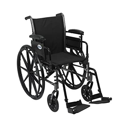 """Drive Medical Cruiser III Light Weight Wheelchair with Various Flip Back Arm Styles and Front Rigging Options, Black, 18"""" (K318ADDA-SF)"""