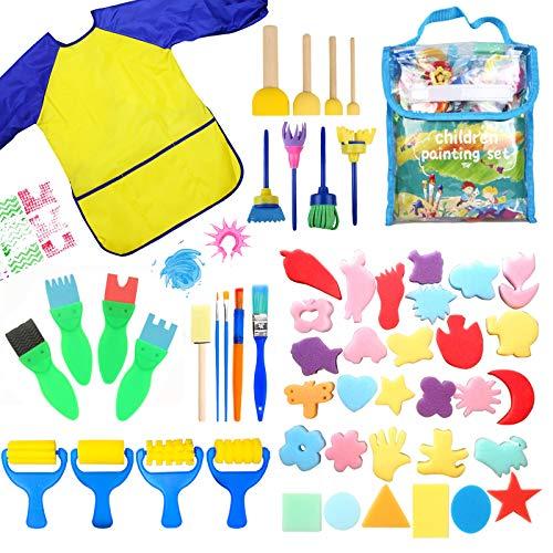 FALUCKYY Kinder Malen Schwämme für Kleinkinder Schwamm Kinder Malpinsel-Set Malbürste Stempel Pinsel Set Kinder Frühe Bildung Zeichenwerkzeuge für DIY Handwerk Mini Blumenschwamm (54 Stück)