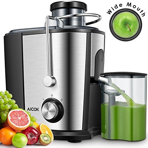 Entsafter, AICOOK 600W Entsafter Gemüse und Obst, Schnelles Entsaften mit zwei Geschwindigkeiten Zentrifugal Entsafter, 75MM Breiter Einfüllöffnung, Rostfreier Stahl, Überhitzungsschutz, BPA-Free
