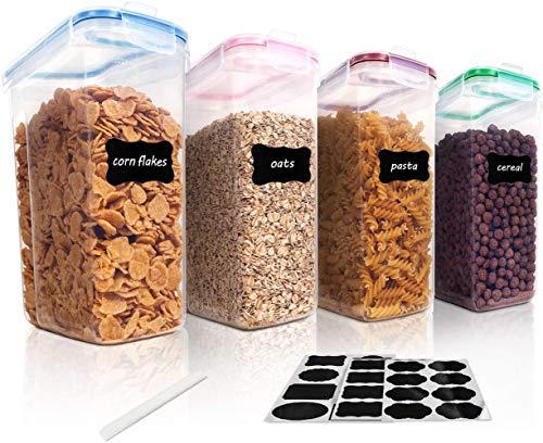 Vtopmart 4L Recipientes para Cereales Almacenamiento de Alimentos, Jarras de Almacenamiento de Plástico con Tapa Hermética Sin BPA,Juego de 4 + 24 Etiquetas, para harina,café, etc
