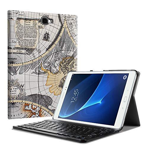 Fintie Tastatur Hülle für Samsung Galaxy Tab A 10,1 Zoll 2016 T580N/ T585N Tablet - Superdünn leicht Schutzhülle mit magnetisch Abnehmbarer Drahtloser Deutscher Bluetooth Tastatur, Weiß