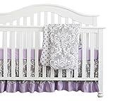 3 pcs Set Boho Floral Ruffle Baby Minky Blanket Baby Nursery Crib Skirt Set Baby Girl Crib Bedding (Grey Purple)