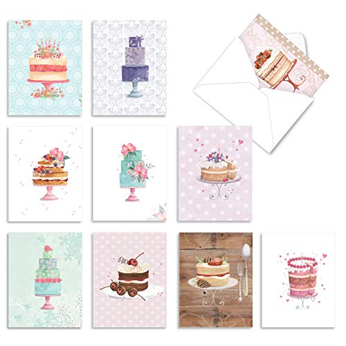 The Best Card Company - 10 Boxed Birthday Note Cards (4 x 5.12 Inch) - Fun Bulk Notecard Set, Celebration Bday Cards with Envelopes - Watercolor Cake M2984BDG