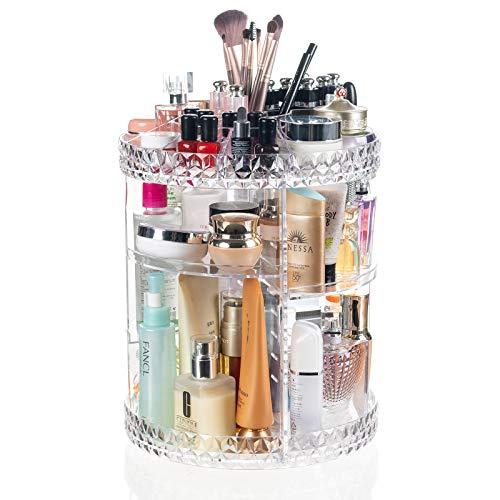 Display4top Organizador del Maquillaje 360° Puede-Girar, Caja de almacenamiento de gran capacidad, adecuada para joyería, perfume, brocha de maquillaje, lápiz labial y más (Transparente B)