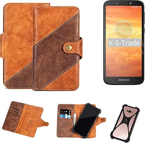 K-S-Trade Handy-Hülle Schutz-Hülle Bookstyle Hülle Wallet-Hülle Für Motorola Moto E5 Dual SIM Handy Cover Bumper Kantenschutz Smartphone Dunkelbraun Braun 1x
