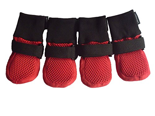 LONSUNEER Paw Protector Dog Boots Set of 4 Breathable Soft Sole Nonslip in 5 Sizes