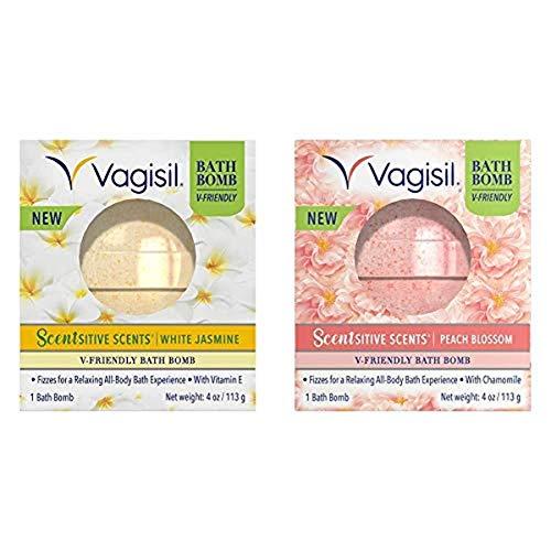 Vagisil Scentsitive Scents V-friendly Bath Bomb Multipack, White Jasmine and Peach Blossom Scents, Ph-friendly for Sensitive Vaginal Skin