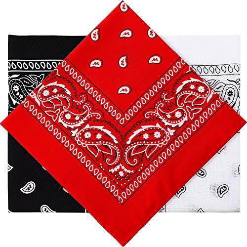 3 Pieces Paisley Bandana Unisex Bandana Scarf Men Women Head Scarf Neck Scarves Head Wrap Cashew Bandana (Red, Black, White)