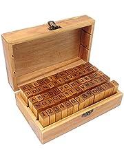 Honbay 70PCS Box Set Wooden Alphabet Letter & Number & Symbols Stamps Stamper Seal Set