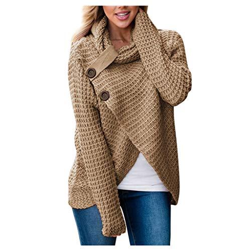 Jerseys De Punto para Mujer Cuello de Tortuga Manga Larga Suelto Prendas de Punto Suéter Irregular Jerséis Collar de la Pila Tops Cálido Otoño Invierno riou (Khaki, L)