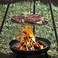 Hengda Feuerstelle Edelstahl Feuerschale Ø 82cm mit Stativ und Griff, Feuerhaken Ablagefach Feuerkorb Lagerfeuer mit verstärkten Rand