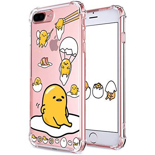 """Coralogo for iPhone 8 Plus/ 7 Plus TPU Case, 3D Cute Cartoon Funny Design Character Protective Chic Kawaii Fashion Fun Cool Cover Skin Teens Kids Girls Cases for iPhone 8 Plus/ 7 Plus 5.5"""" (Lazy Egg"""