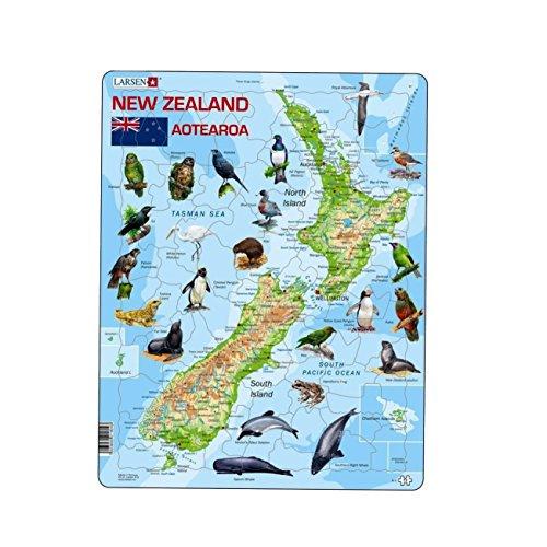 Larsen A4 Nieuw-Zeelandse natuurkunde kaart met dieren puzzel