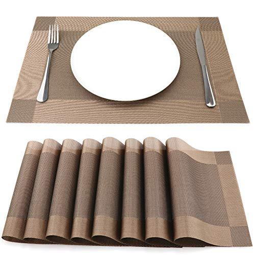 SueH Design Gewebte Platzsets/Tischsets 8er Set Vinyl 45 * 30 cm Braun