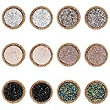 Lullabb 6 Pairs Women Crystal Druse Round Stud Earrings Hypoallergenic Geometry Shiny Druz...