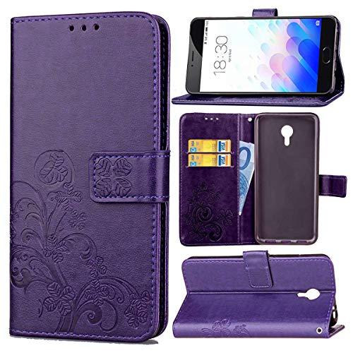 JEEXIA® Funda para Meizu M3 Note/Meizu Note3, Moda Flip Wallet Case Cover PU Cuero con Soporte Cubierta Protectora Trébol de Cuatro Hojas (Púrpura)