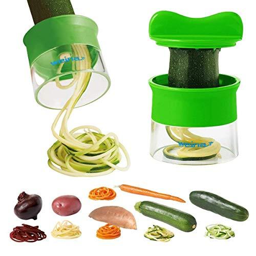 Weinas Machine à découper les légumes/fruits multifonctionnelle et professionnelle Coupe en spirale, râpe Manche ergonomique et lames aiguisées Vert vert