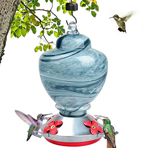 LEADNOVO Hummingbird Feeder for Outdoors, Hand Blown Glass Bird Feeder, Leakproof 38 Ounces Nectar Capacity Hummingbird Feeders Include Hanging Wires and Moat Hook