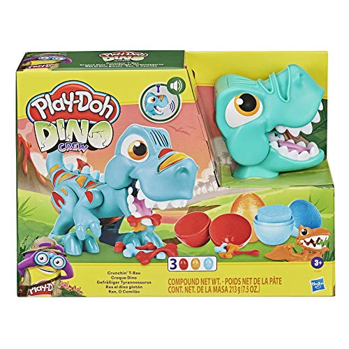 Play-Doh Dino Crew Crunchin' T-Rex Toy for Kids 3 Years and Up with Funny Dinosaur Sounds and 3 Eggs, 2.5 Ounces Each, Non-Toxic