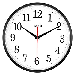 HIPPIH Black Wall Clock, Silent Non-Ticking Quality Quartz Battery Operated Wall Clock - 10 Inch