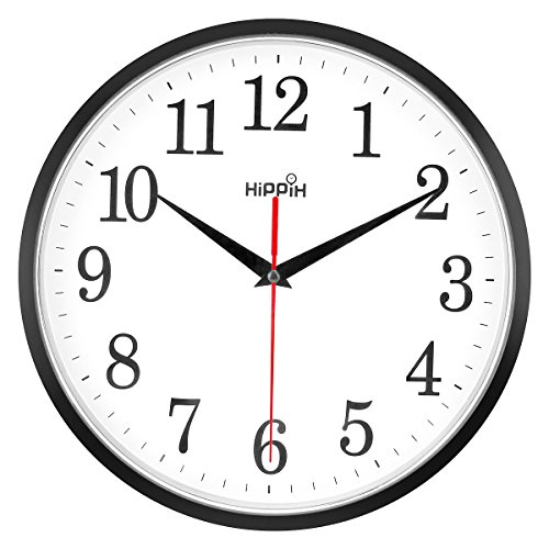 Yoobure 10'' Silent Quartz Wall Clock Non-Ticking Decorative Clock, Operated Round Black Clock Easy to Read Home/Office/Classroom/School Clock