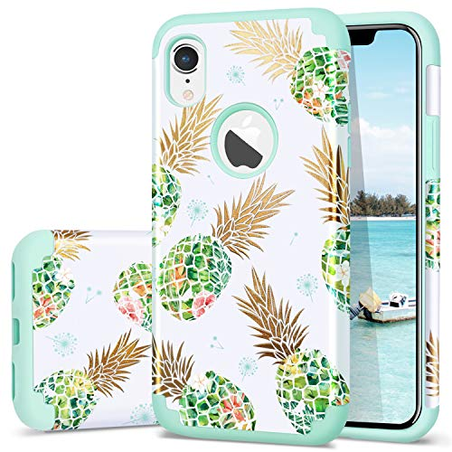 Fingic iPhone XR Case,iPhone XR Case Pineapple,Shiny Slim Pineapple Design Summer Case Hard PC Soft Rubber Anti-Scratch Shock Proof Protective Case Cover Compatible with Apple iPhone XR,Green