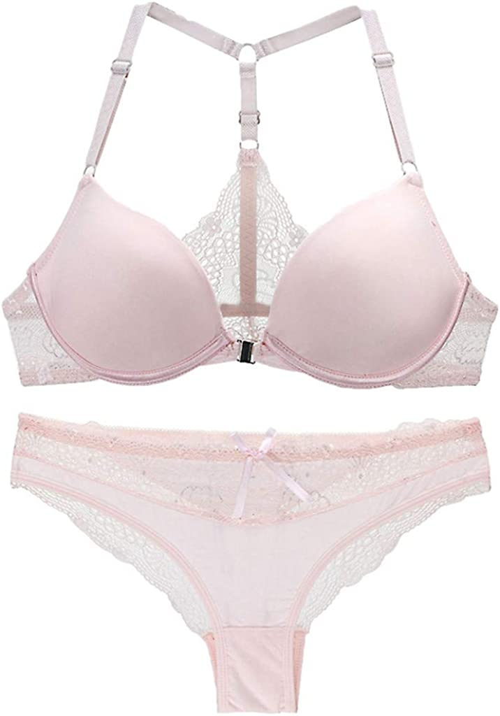 A2A Lace Bra and Panty Set for Women Sexy Plus Up Bra Underwire Lightly Lined Lingerie Set Strap Seamless Gather Underwear