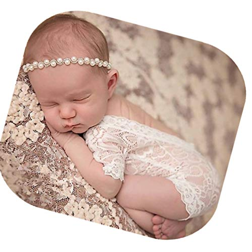 Fashion Cute Newborn Baby Girls Photography Props Headdress Lace Outfits Photo Shoot Props Outfits(Lace Romper+Headband)