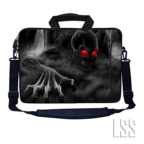 Laptop Skin Shop 15.6 inch Laptop Sleeve Bag Notebook with Extra Side Pocket, Soft Carrying Handle & Removable Shoulder Strap for 14' 15' 15.4' 15.6' Apple MacBook Air, GW, Acer, Aspire Asus, Dell, HP, Sony, Toshiba, Samsung - Red Eye Dark Ghost Zombie Skull