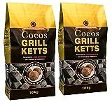 Holzkohlewerk Lüneburg Cocos Grillketts Premium Grillbriketts aus Kokos-Kohle - 20kg - Extra Lange Brenndauer - Ideal für Dutch Oven & Smoker