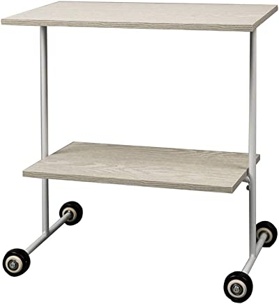 ZR- Side Table、2段ラック、ラップトップデスク、ベッドルームベッドサイドテーブル;移動車輪を使って (サイズ さいず : 木の色)