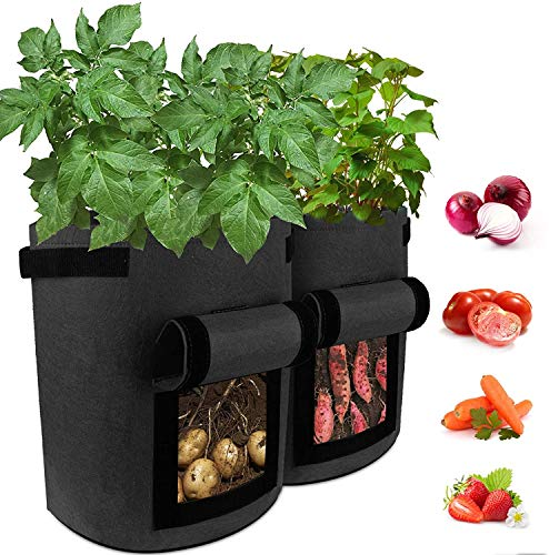 Garden Plant Grow Bag Large 10 Gallon Fabric Potato Growing Bags with Visualized...
