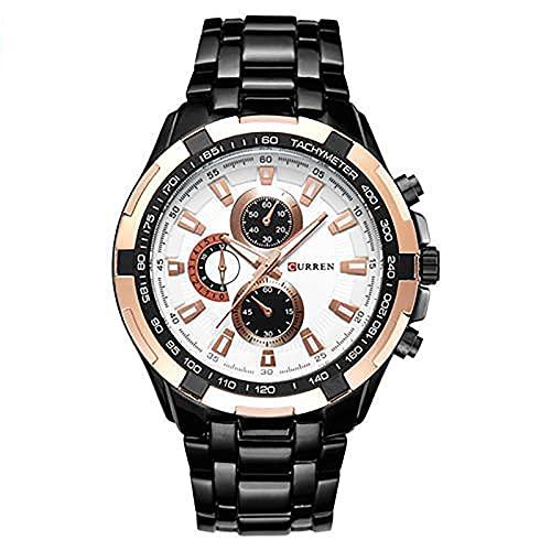SXLONG Reloj De Banda De Acero con Pantalla Digital De Cuarzo Analógico Y Cronógrafo Resistente Al Agua para Hombre