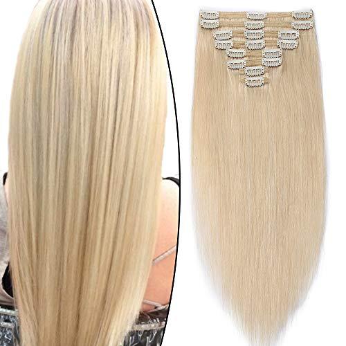 Extension Cheveux Naturel a Clip Blond Double Epaisseur Tête Entière - Remy Human Hair Double Weft 8 Pcs Extensions (#60 Blond platine, 50cm-150g)