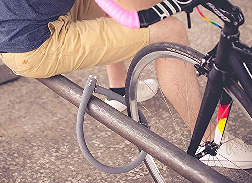 ULAC自転車ロック鍵ワイヤーロックu字ロックロードバイククロスバイクシリコンカバー長さ700mm横断面直径20mm高切断対抗頑丈盗難防止五色(グレー)
