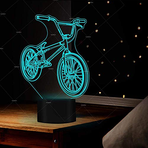 3D Symphony Lights LED Nachtlicht BMX 7 Farben Fahrradform ändern USB Bedside Bike Home Decor Schlafzimmer Schlafgerät Geschenk