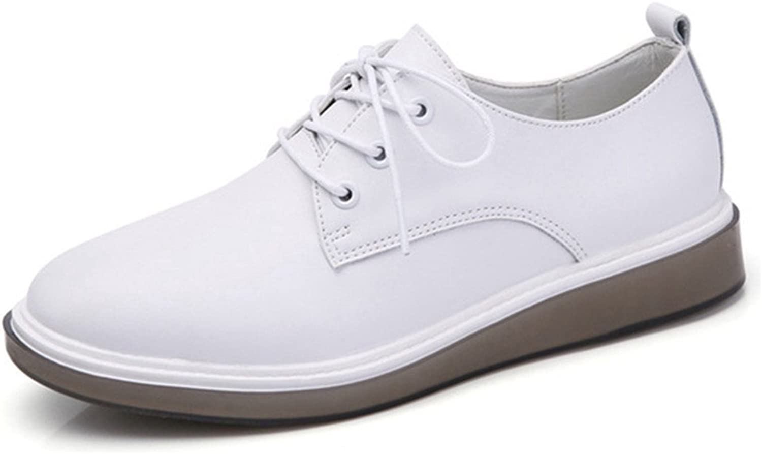 York Zhu White Black Oxford for Women, Ballerina Flats Lace up Round Toe Loafers shoes