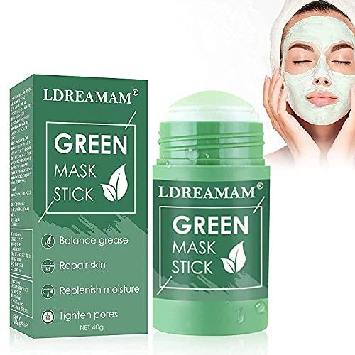 Green mask stick,Grüner Tee Purifying Clay Stick Mask,Feste Maske,Deep Cleansing Ölkontrolle Anti-Akne-Maske,Mitesser entfernen,Poren verkleinern und Haut straffen